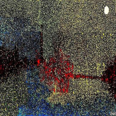Candid Mixed Media - Bridge Harbor Moon by Bob Shelley