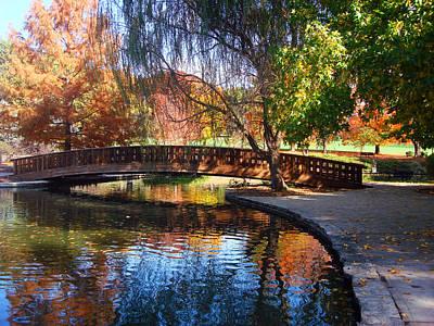 Bridge In Autumn Print by Ellen Tully