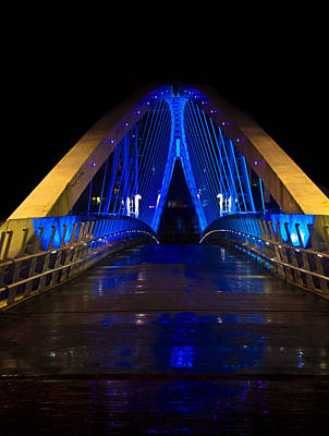 Bridge In Blue Print by Brendan Quinn