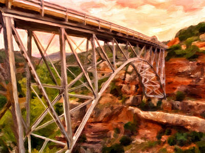 Bridge In Oak Creek Canyon Print by Michael Pickett