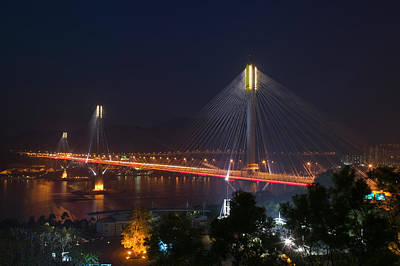 Island Stays Photograph - Bridge Lit Up At Night, Ting Kau by Panoramic Images