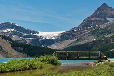 Bow Lake Photograph - Bridge On Bow Lake, Bow Glacier, Mt by Panoramic Images