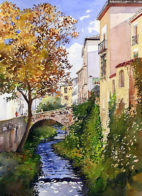 Bridge Over The Rio Darro Print by Margaret Merry