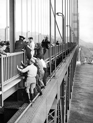 Helping Photograph - Bridge Suicide Attempt by Underwood Archives