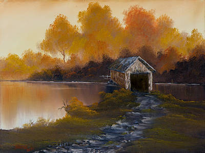 Bob Ross Style Painting - Covered Bridge In Fall by C Steele