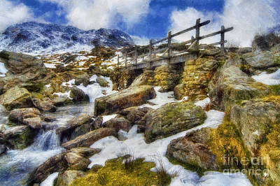 Snowy Digital Art - Bridge To Idwal by Ian Mitchell