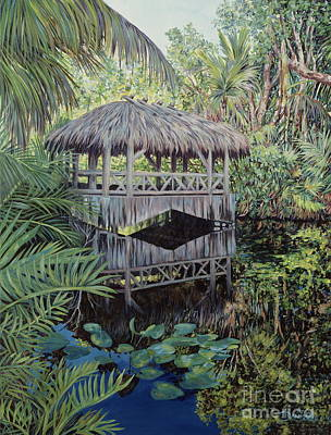 Bamboo House Painting - Bridge To Paradise by Danielle  Perry