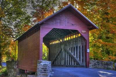 Bridge To The Past Roddy Road Covered Bridge-a1 Autumn Frederick County Maryland Print by Michael Mazaika