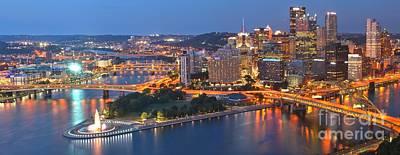 Bridge To The Pittsburgh Skyline Print by Adam Jewell