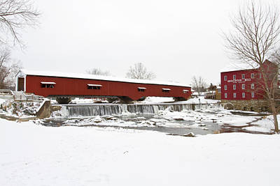 Bridgeton Covered Bridge In Winter Print by Panoramic Images