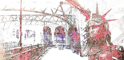Digital Art - Bridging Promise Cityscape by Mary Clanahan