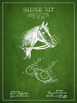 Bridle Bit Patent From 1897 - Green Print by Aged Pixel