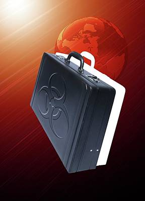 Briefcase With Biohazard Symbol Print by Victor Habbick Visions