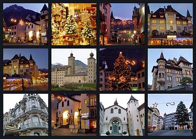 Brig Switzerland At Christmas Time Print by Julia Fine Art And Photography