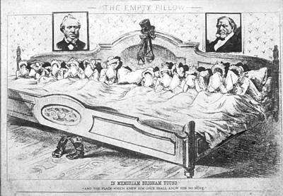 Brigham Young Wives Cartoon Print by Underwood Archives