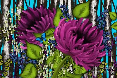 Bright Blue With Purple Mums Print by Nancy Long
