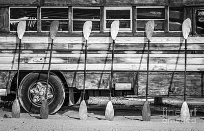 Bright Colored Paddles And Vintage Woodie Surf Bus - Florida - Black And White Print by Ian Monk