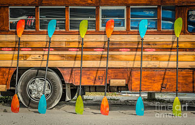 Bright Colored Paddles And Vintage Woodie Surf Bus - Florida Print by Ian Monk