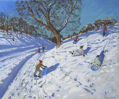 Winter Fun Painting - Bright Morning   Chatsworth by Andrew Macara
