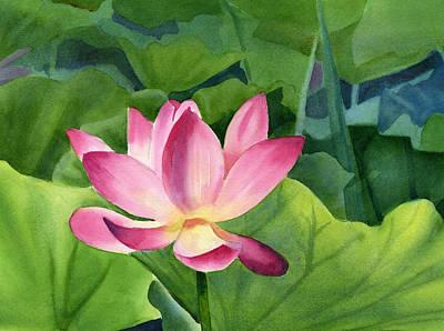 Bright Pink Lotus Blossom Print by Sharon Freeman