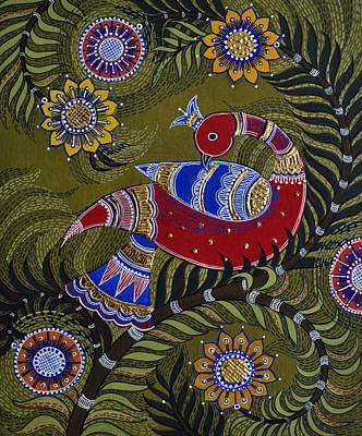 Tanjore Painting - Bright Red Peacock by Sucheta Misra