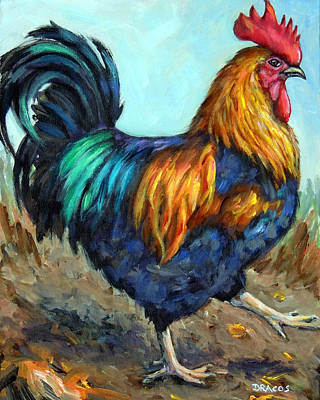Bright Strutting Rooster Original by Dottie Dracos