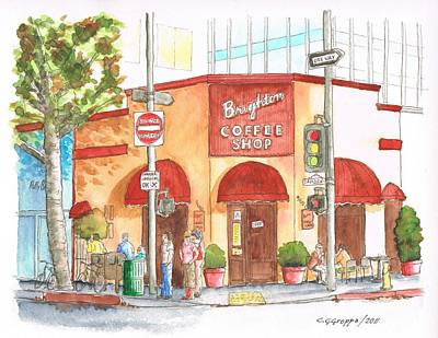 Beverly Hills Painting - Brighton Coffee Shop In Beverly Hills, California by Carlos G Groppa