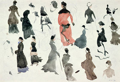 Coat Drawing - Brighton Ladies by Randolph Caldecott