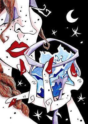 Women Tasting Wine Drawing - Brindis - Cata De Vino - Mujer - Arte Y Seduccion by Arte Venezia