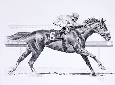 Wild Horse Drawing - Bring On The Race Zenyatta by Joette Snyder