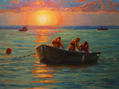 Net Painting - Bristol Bay Sunset by Jeanne Young