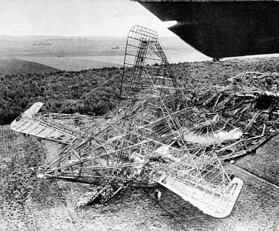 Framed Landscape Photograph - British Airship Crash by Cci Archives