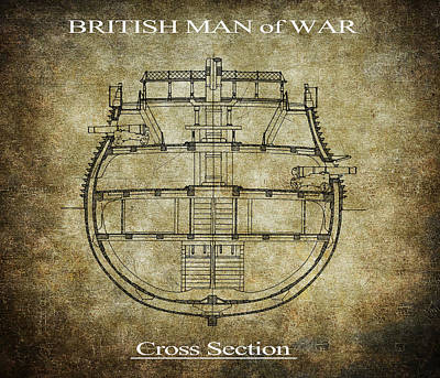 British Man Of War Cross Section Print by Daniel Hagerman