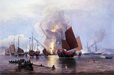 British Ships Destroying An Enemy Fleet In Canton Print by Anonymous