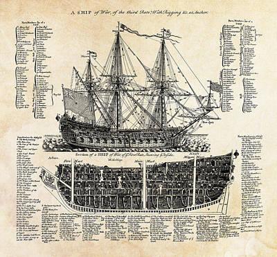 British Ships Of War  1728 Print by Daniel Hagerman