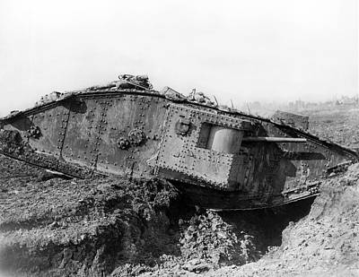 Trenches Photograph - British Tank Crossing A Trench by Underwood Archives