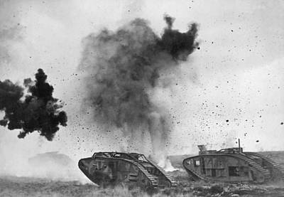 Bursting Photograph - British Tanks In Wwi Battle by Underwood Archives