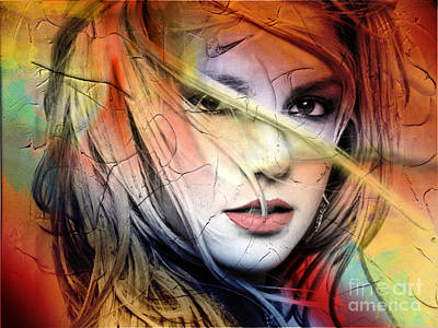 Abstracted Digital Art - Britney-spears by Mark Ashkenazi
