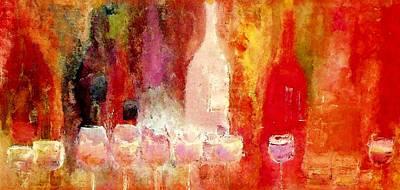 Wine Painting - Broadway Wine Chorus  by Lisa Kaiser