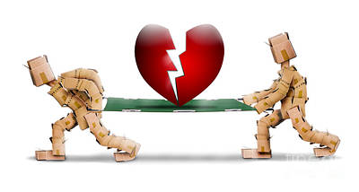 Broken Heart Carried On A Stretcher By Box Men Print by Simon Bratt Photography LRPS