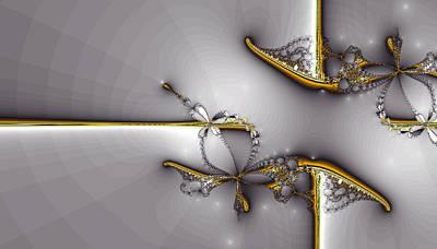 Gold Abstract Digital Art - Broken Jewelry-fractal Art by Lourry Legarde
