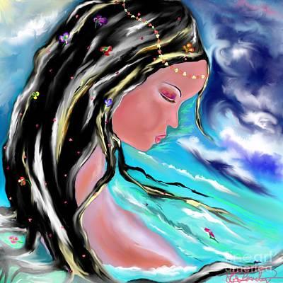 Floating Girl Drawing - Broken by Lori  Lovetere