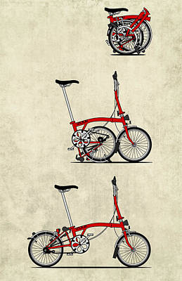 Transportation Mixed Media - Brompton Bicycle by Andy Scullion