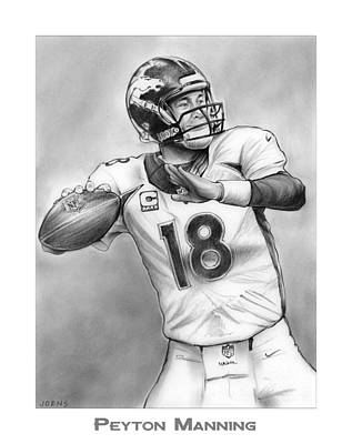 Football Drawing - Broncos Peyton Manning by Greg Joens
