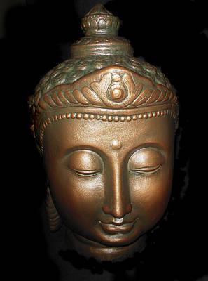 Budda Photograph - Bronze Buddha Head by Joan Reese