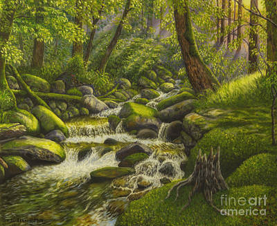 Brook In The Forest Print by Veikko Suikkanen