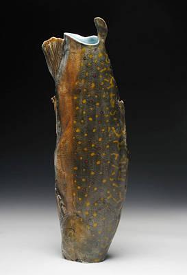 Ceramic Art - Brook Trout Vessel II by Mark Chuck