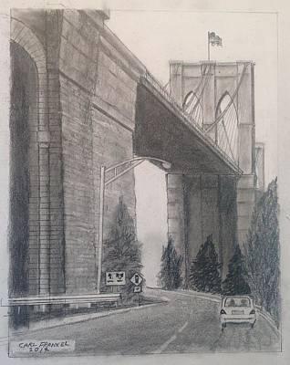 Brooklyn Bridge Drawing - Brooklyn Bridge Third by Carl Frankel