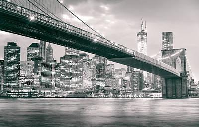 Brooklyn Bridge And New York City Skyline At Night Print by Vivienne Gucwa