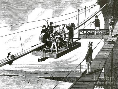Brooklyn Bridge Construction, 1876 Print by Science Source